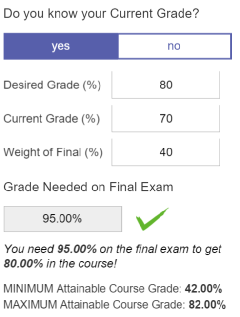 A screenshot of our Grade Calculator for when you know your current course grade is shown.